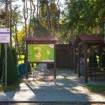 Wybrukowane miejsce wśród drzew, naktórymstoją drewniane daszki iwiara. Poddaszkami drewniane, ciemnobrązowe stoły iławy. Napierwszym planie dwie tablice informacyjne, wtym jedna koloru zielonego zawiera mapę