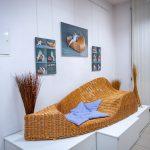 Oryginalny mebel zwikliny ustawiony napostumencie wsali wystawowej. Naścianie kolorowe zdjęcia