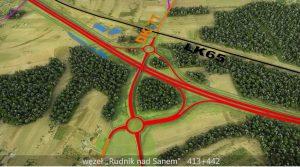 Na zielonym trójwyiarowym tle zaznaczoa czerwona podwójna linia iczarne orazpomarańcowe pojedyńcze linie